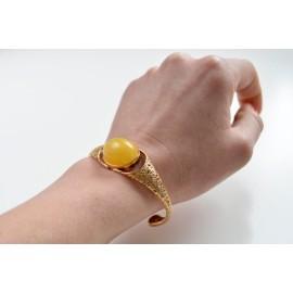Cuff Baltic Amber Bracelet, Butterscotch Amber Bracelet, Natural Baltic Amber Bangle Bracelet
