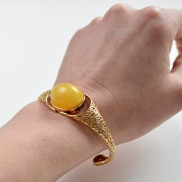 Cuff Baltic Amber Bracelet, Butterscotch Amber Bracelet, Natural Baltic Amber Bangle Bracelet