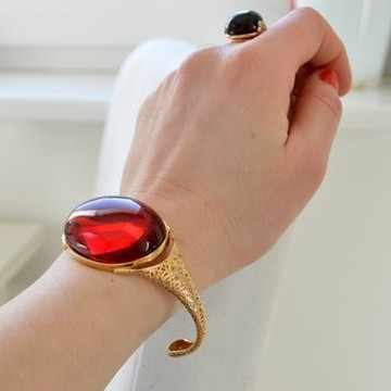 Natural Red Baltic Amber Bangle Bracelet, Gold-plated Silver and Cherry Amber, Deep Red Genuine Amber for Valentines