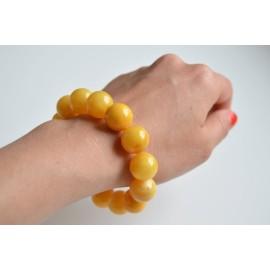 Butterscotch Amber Bracelet, Egg Yolk Amber Bracelet, Natural Organic Amber, 15 mm Beaded Bracelet, Unisex Amber Bangle