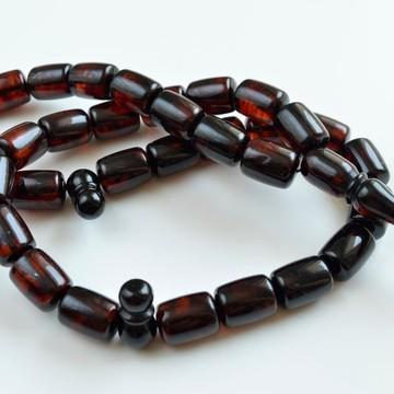 Red Cherry color Baltic Amber Islamic Prayer Beads 80 grams 19 x 3 mm rosary Muslim Rosary مسبحة, Barrel Beads, 33 beads