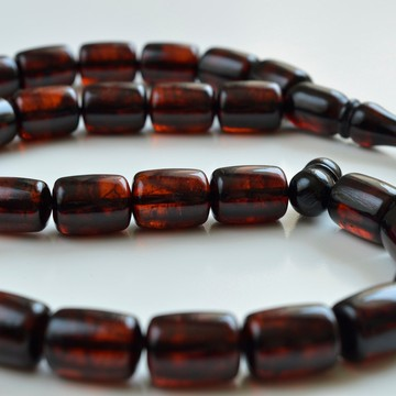 Red Cherry color Baltic Amber Islamic Prayer Beads 80 grams 19 x 3 mm rosary Muslim Rosary مسبحة, Barrel Beads, 33 beads