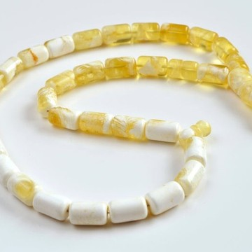 White Amber Round Beads, Ivory White Color Baltic Amber Islamic Prayer Beads 33 Worry Beads 63 g 18 x 11 mm