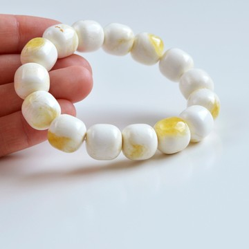 Pure Baltic Amber Bracelet 20 grams Milky White Color Bangle Bracelet handmade perfect gift