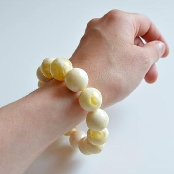 Pure Baltic Amber Bracelet 33 grams Milky White Color Bangle Bracelet handmade perfect gift