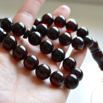 Deep Red Color Baltic Amber Islamic Prayer, Tespih Beads 38.5 grams 12 mm