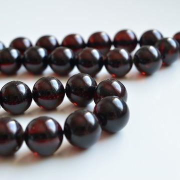 Deep Red Color Baltic Amber Islamic Prayer, Tespih Beads 38.5 grams 12 mm