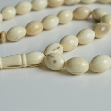 Prehistoric Mammoth Bone Misbaha Rosary, Prayer Beads 33 Worry Beads 33 g