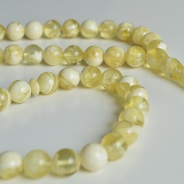 Ivory White Color Baltic Amber Islamic Prayer Beads 66 Worry Beads 53.5 g 11 mm