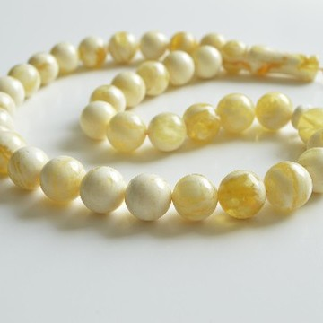 Ivory White Color Baltic Amber Islamic Prayer Beads 33 Worry Beads 76 g 16 mm