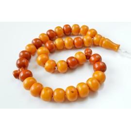 Vintage Baltic Amber Tespih, Antique Misbaha, Prayer Islamic Bead 81,5 g 17x14mm