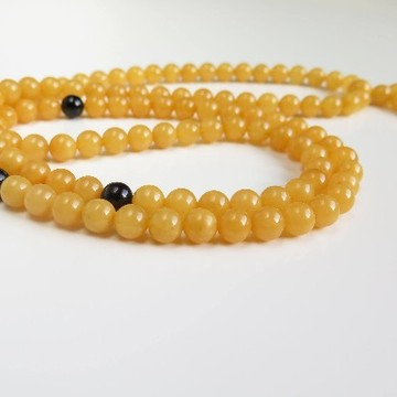 Mila Mala Rosary 8mm Egg Yolk Butterscotch Buddhist Prayer Beads 39.20 grams