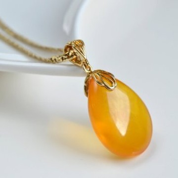 Natural Baltic Amber Pendant, Gold-plated 925 Silver Necklace, Genuine Amber Necklace, 6 g