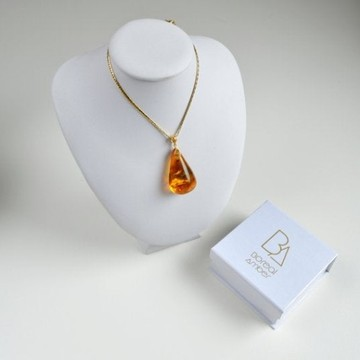 Natural Baltic Amber Pendant, Gold-plated 925 Silver Necklace, Genuine Amber Necklace, 10 g