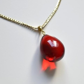 Royal Red Ruby Amber Pendant, Gold- plated 925 Silver, Jewelry, 8 g