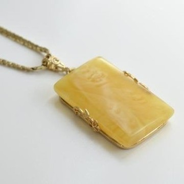 Butterscotch Baltic Amber Pendant, Gold-plated 925 Silver Necklace, Genuine Amber Necklace, 12 g