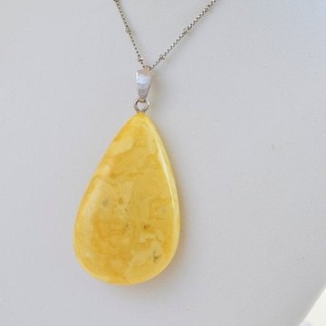 Butterscotch Baltic Amber Pendant, Gold-plated 925 Silver Necklace, Genuine Amber Necklace, 18 g