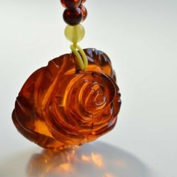 Cognac Baltic Amber Rose Pendant, Hand Carved Natural Cognac Amber Necklace, 21 g