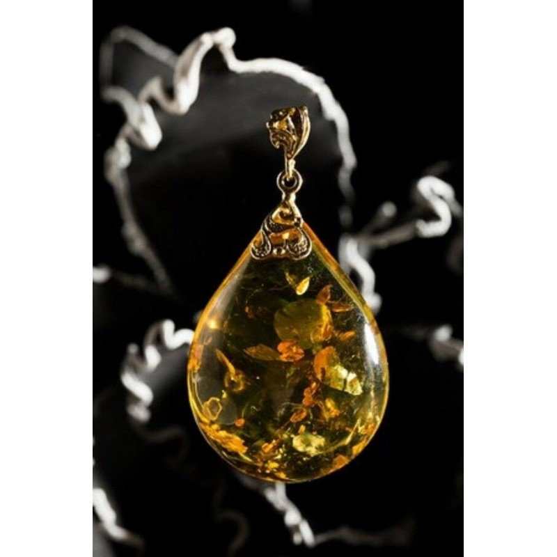Unique Gold Color Natural Baltic Amber Pendant Goldplated Silver 20 grams