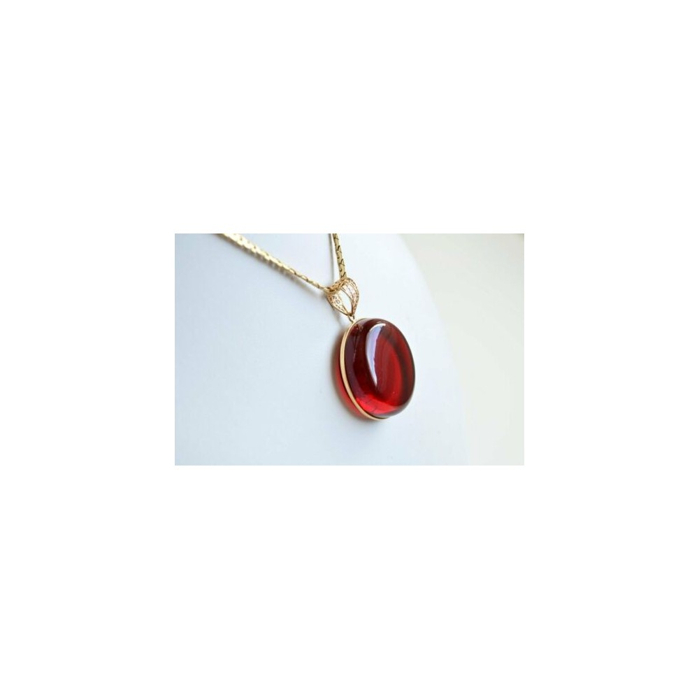 Royal Red Ruby Amber Pendant, Gold Jewelry, Exclusive Amber Pendant, Drop Shape, 8 g
