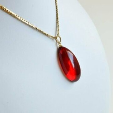 Royal Red Ruby Amber Pendant, Gold Jewelry, Exclusive Amber Pendant, Drop Shape, 5 g