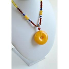 Butterscotch Genuine Baltic Amber Donut Pendant, Natural Cognac Amber Necklace, 28 g