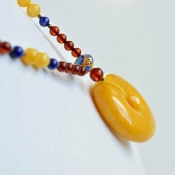 Butterscotch Genuine Baltic Amber Donut Pendant, Natural Cognac Amber Necklace, 28 g