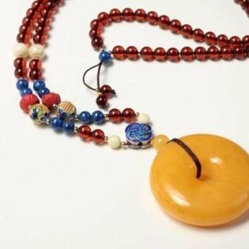 Butterscotch Genuine Baltic Amber Donut Pendant, Natural Cognac Amber Necklace, 32.5 g