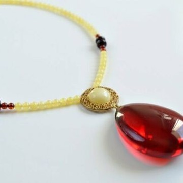 Ruby Baltic Amber Pendantwith 14k Gold, Handmade Natural Red Amber Necklace, Amber Choker, 33 g
