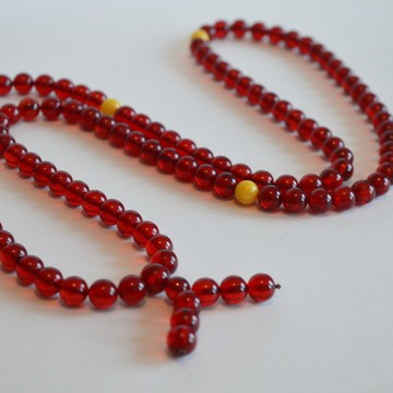 Japa Mala Meditative Rosary of Red Baltic Amber 40 grams 9mm Buddhist necklace
