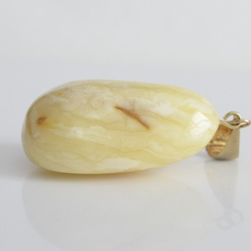 Natural Baltic Amber Pendant Big Solitary Stone Egg yolk and White Color 29g