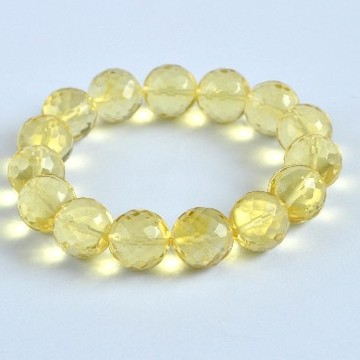 Faceted Yellow Color Genuine Baltic Amber Wristbracelet 14 mm 22 grams