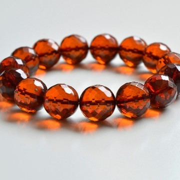 Faceted Cognac Color Genuine Baltic Amber Wristbracelet 13.5 mm 22 grams