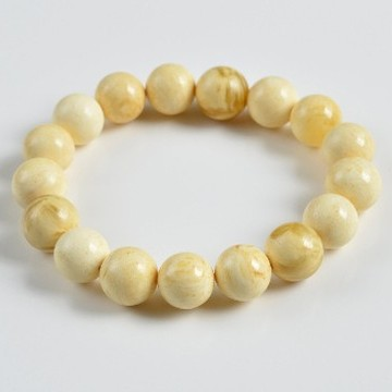 Butterscotch Amber Bracelet with 12 mm 16 grams Amber Beads, Natural Baltic Amber Bracelet