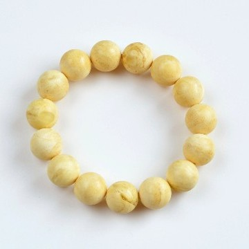 Butterscotch Amber Bracelet with 14.5 mm Amber Beads, Natural Baltic Amber Bracelet 24 grams