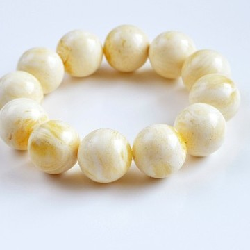 White Amber Bracelet with 20 mm Amber Beads, Natural Baltic Amber Bracelet, Exclusive Beaded Amber Bracelet 46 grams
