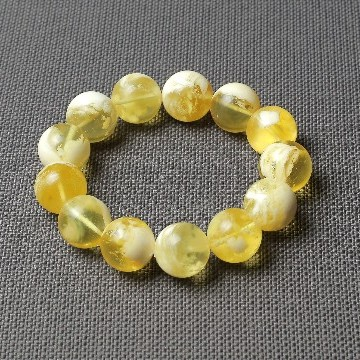 Butterscotch Amber Bracelet with 16 mm Amber Beads, Natural Baltic Amber Bracelet 31 grams