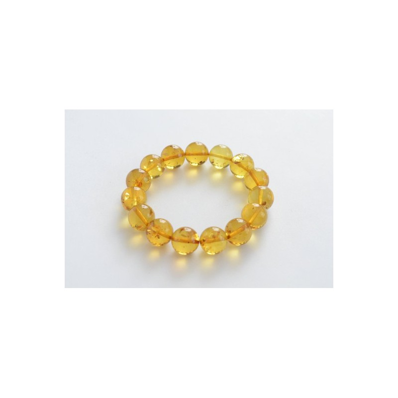 22g Cognac Color Genuine Baltic Amber Wristbracelet 14mm Handmade Amber Beads Perfect Gift