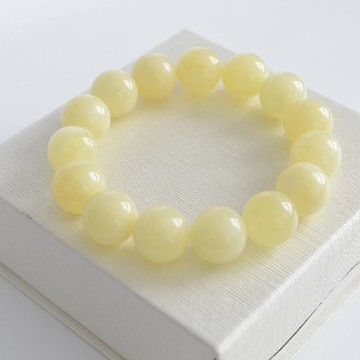 Pure Baltic Amber Bracelet 14mm 22g milky white color round beads handmade perfect gift