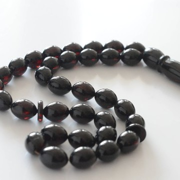 Baltic Amber Moslem Prayer Beads Olives Shape Red Cherry Color Chaplet 31.9grams
