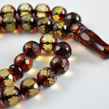 Faceted Handmade Baltic Amber Tespih Cherry Yellow Color Misbaha 33 Beads 12 mm 42 g