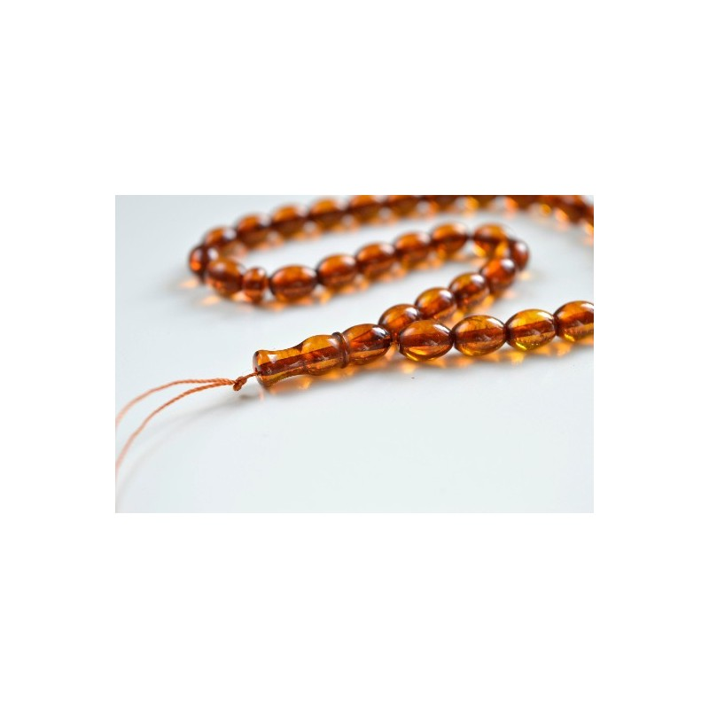 Misbaha Islam Rosary of Genuine Baltic Amber 6.5 grams Cognac Color 8 x 6 mm Beads