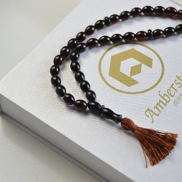 Cherry Baltic Amber Misbaha Prayer Tassel, Deep Red Baltic Amber Islamic Prayer 15g