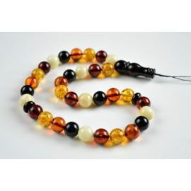 Multicolored Baltic Amber Misbaha Prayer, Cherry Red Cognac Baltic Amber Islamic Prayer 20 g