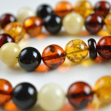 Multicolored Baltic Amber Misbaha Prayer, Cherry Red Cognac Baltic Amber Islamic Prayer 20 g