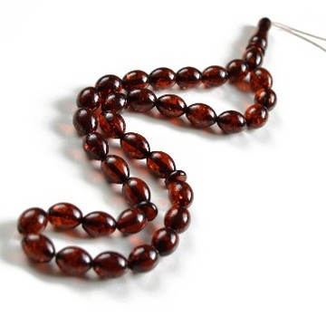 Misbaha Islam Rosary of Genuine Baltic Amber Deep Cognac Color Olives Beads 20.5 g