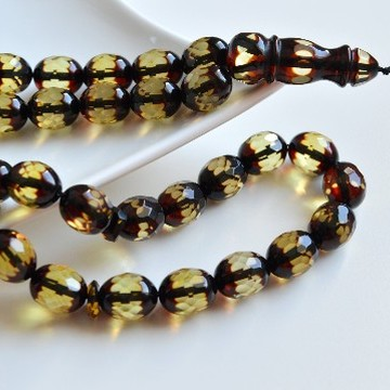 Faceted Handmade Baltic Amber Tespih Cherry Yellow Color Misbaha 33 Beads 13 x 11 mm 30.5 g