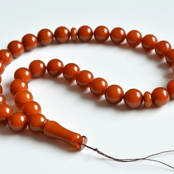 Old Baltic Amber Tespih, Antique Color Misbaha, 33 Beads 15.5 mm 74 g Handmade