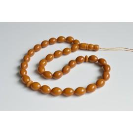 Old Baltic Amber Tespih, Antique Misbaha, 33 Beads 19 x 14 mm 71 g Handmade