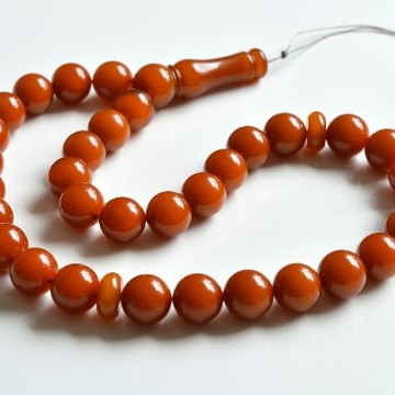 Old Baltic Amber Tespih, Antique Color Misbaha, 33 Beads 13.5 mm 54 g Handmade